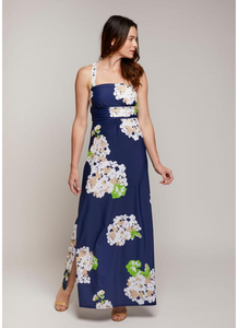 Bellevue Maxi Dress in Navy Hydrangea