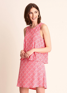 Roberta Dress in Coral Fans