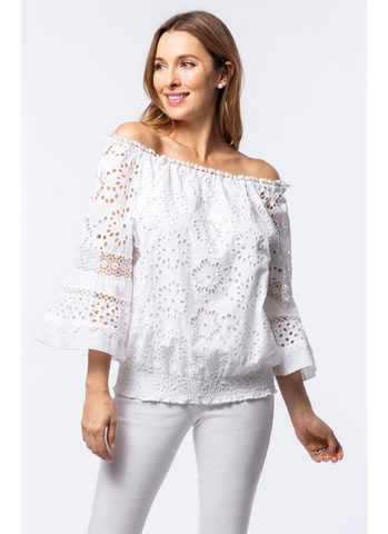Claire Eyelet Top in White