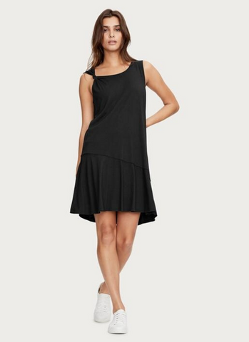 Twist Strap Tank Dress in Black