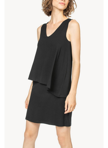 Double Layer V-Neck Dress in Black