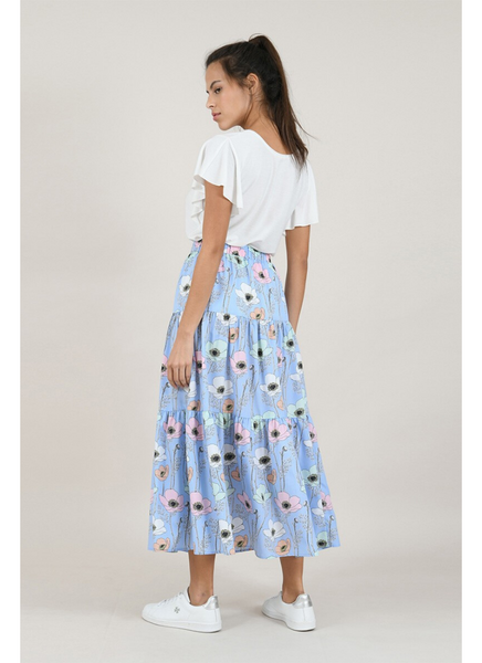 Floral Print Skirt in Blossom Blue