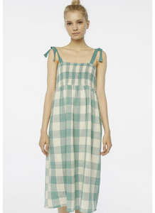 Smocked Plaid Midi Dress in Green/Beige