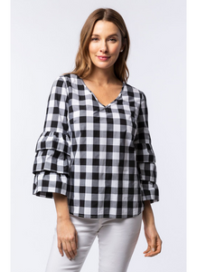 Victoria Gingham Top in Black & White