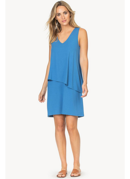 Double Layer V-Neck Dress in Marlin