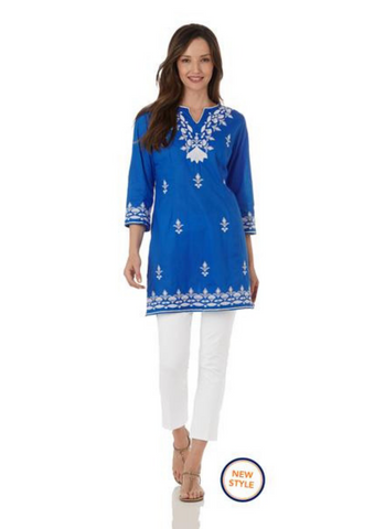 Leila Tunic Blue and White