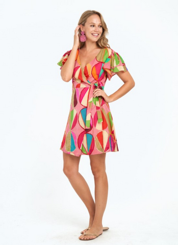 Wrap Dress in Carnival Pink