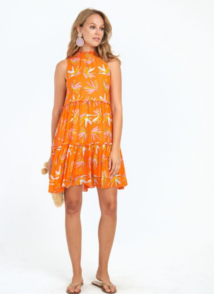 Ruffle Tiered Dress in Orange