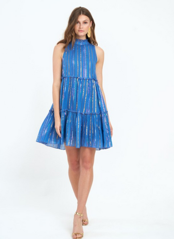 Ruffle Tiered Dress in Blue
