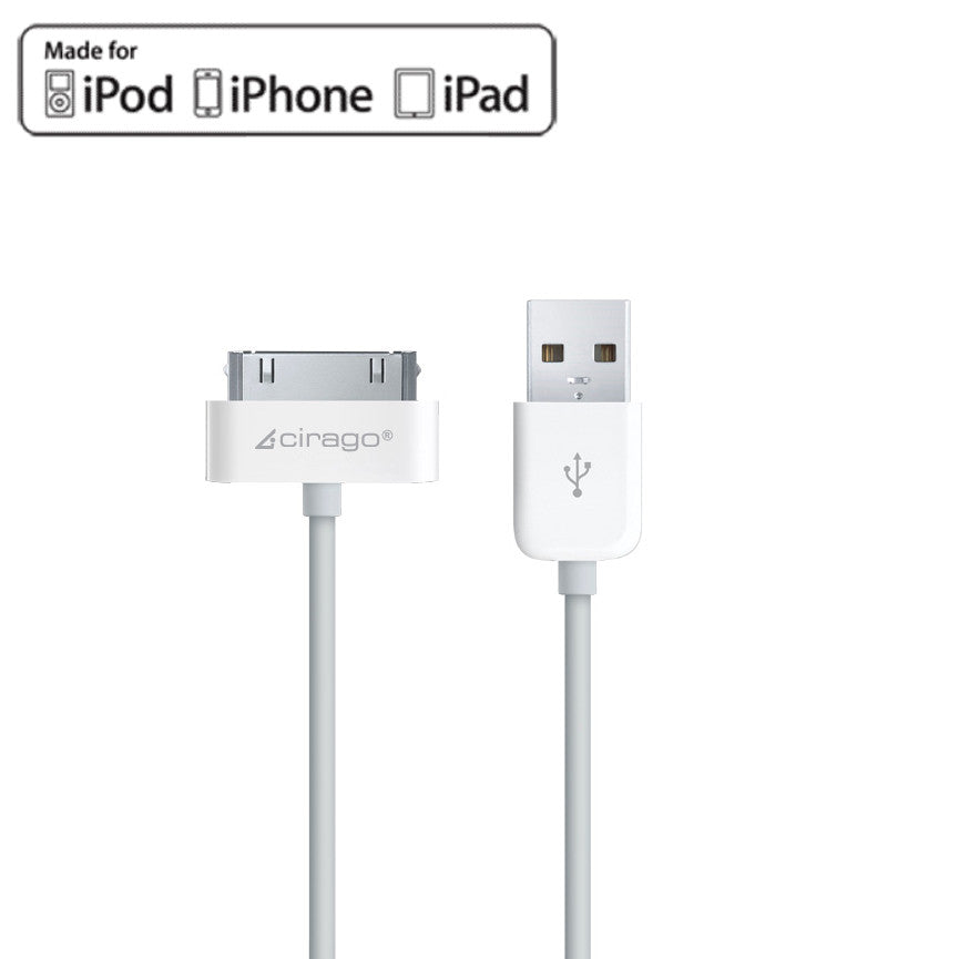 Cirago 10ft Apple iPod iPhone iPad USB Sync/ Data/ Charger cable IPA1200