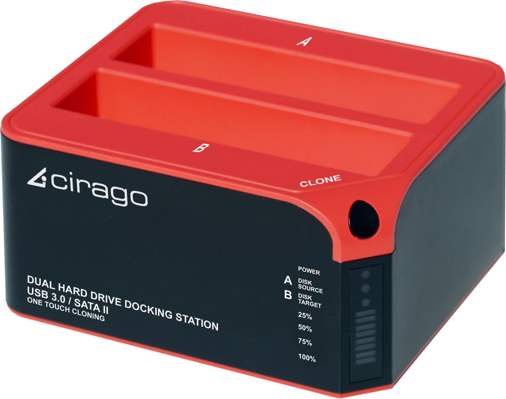 "Cirago 2.5"" 3.5"" Dual Hard Drive Docking Station- With One Touch Cloning CDD3000"