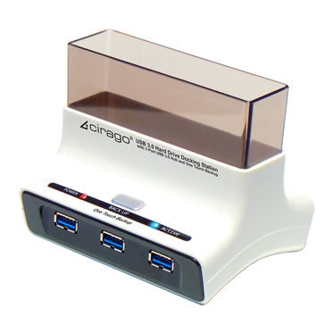 Cirago USB 3.0 Hard Drive Docking Station - with 3 Port USB 3.0 Hub CDD3003