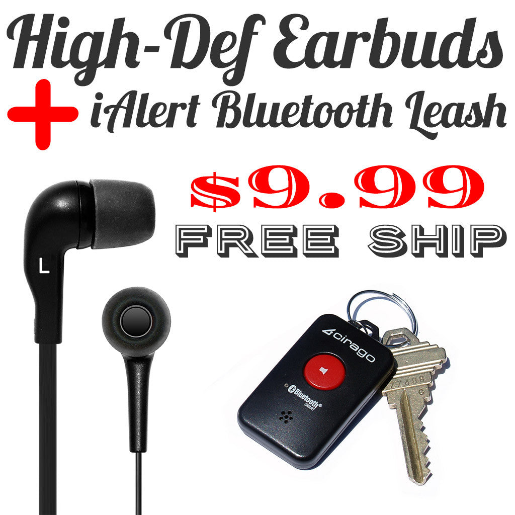 BLOWOUT! iAlertTag Bluetooth Leash for iPhone & High-Def Earbuds Headphones with Microphone