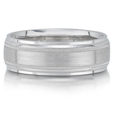 White Gold Brushed Milgrain Wedding Band