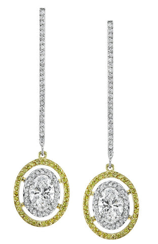 Michael Barin Platinum Yellow and White Diamond Dangle Earrings