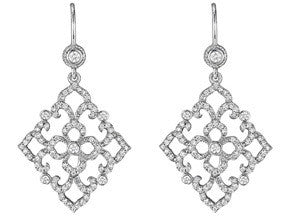 Penny Preville 18k White Gold Diamond Lace Earrings