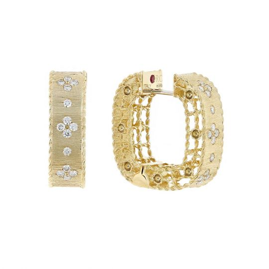 Roberto Coin Square Satin Princess Yellow Gold Diamond Earrings