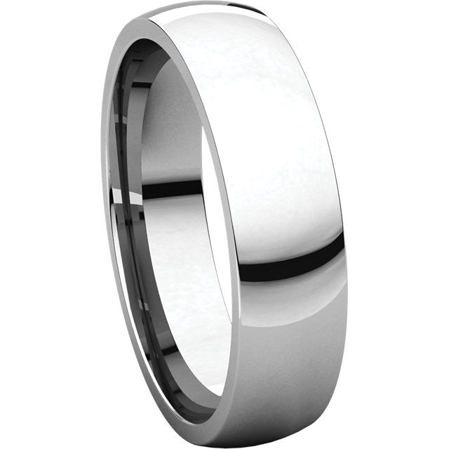 White Gold 5mm Comfort Fit Wedding Band