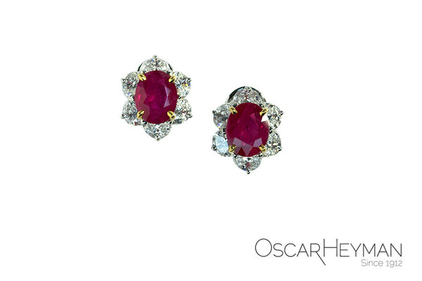 Oscar Heyman Platinum Ruby and Diamond Earrings
