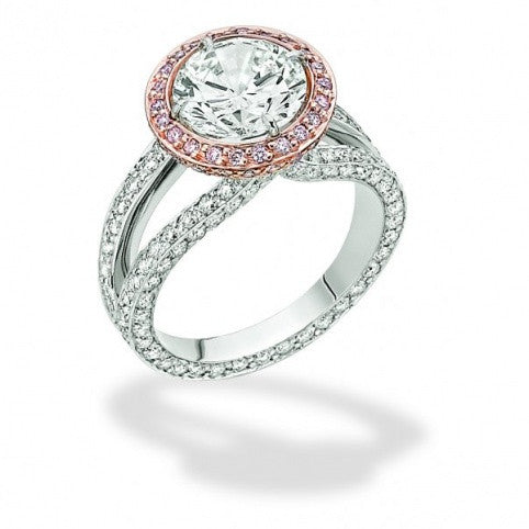 Michael Barin Platinum Pink Diamond Halo Engagement RIng