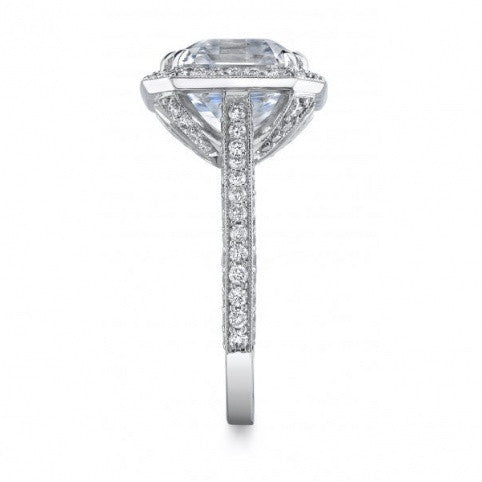 Michael Barin Platinum Asscher Cut Halo Diamond Engagement Ring