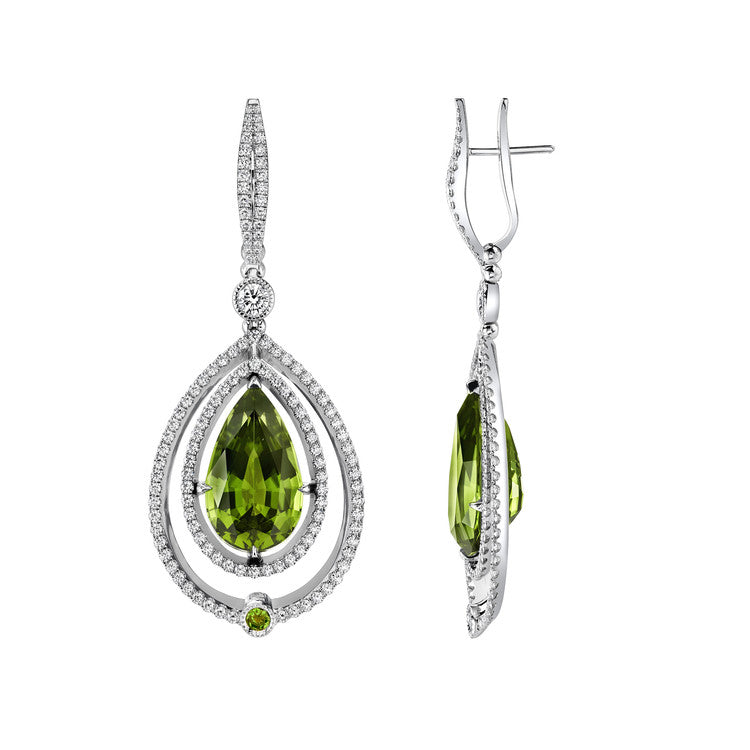 Michael Barin Peridot and Diamond Earrings