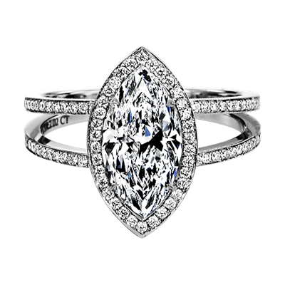 Sasha Primak Platinum Marquise Diamond Halo Engagement Ring