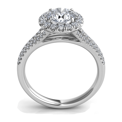 Sasha Primak Split Shank Diamond Pave Halo Engagement Ring
