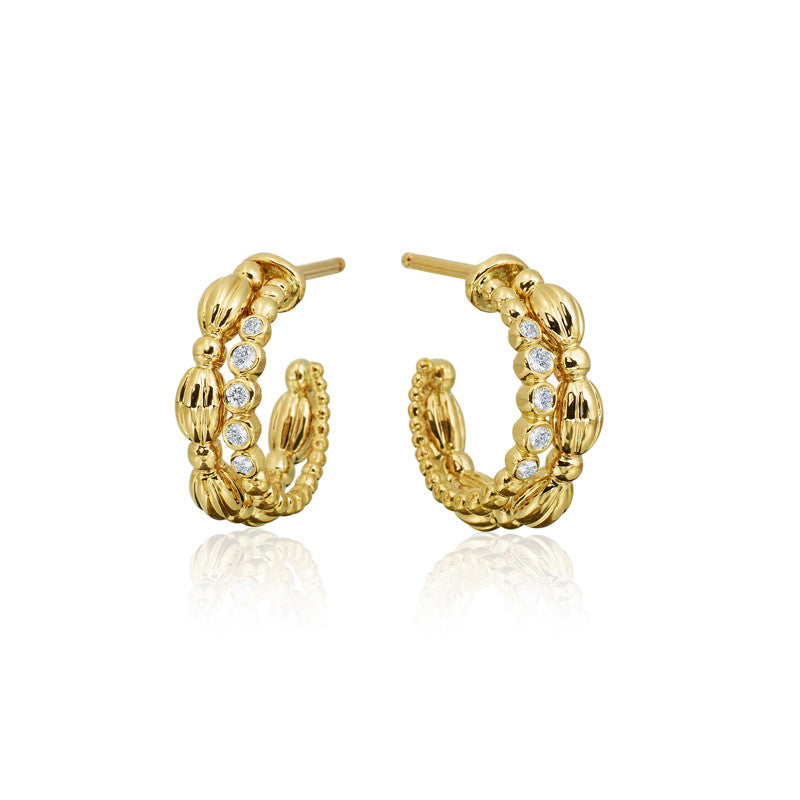 Gumuchian Nutmeg Collection Gold and Diamond Earrings
