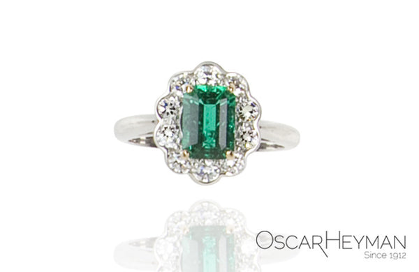 Oscar Heyman Platinum Emerald and Diamond Ring