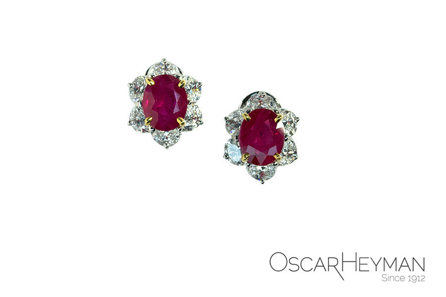 Oscar Heyman Ruby and Diamond Earrings