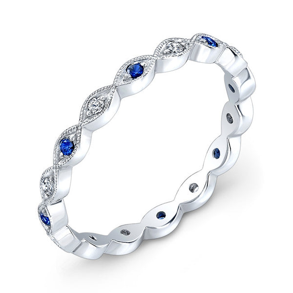 Jolie Designs Stackable Sapphire and Diamond Eternity Ring