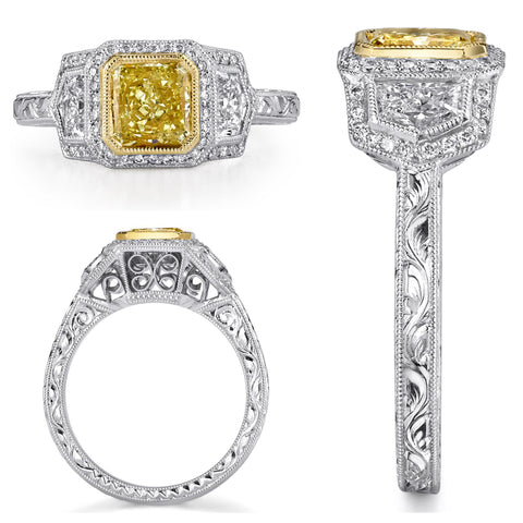 Michael Barin Fancy Yellow Diamond Engagement Ring