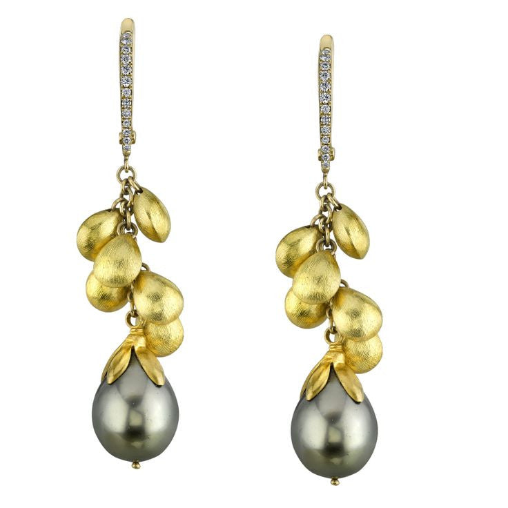 Michael Barin Tahitian Pearl and Diamond Earrings