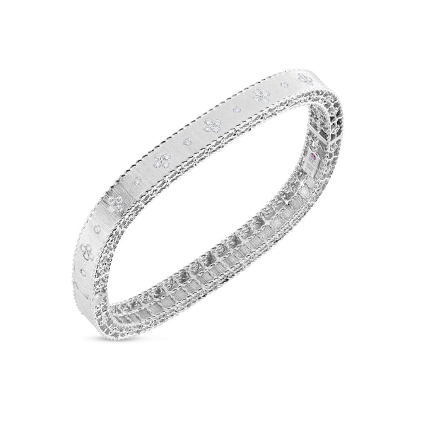 Roberto Coin Satin White Gold Diamond Bracelet