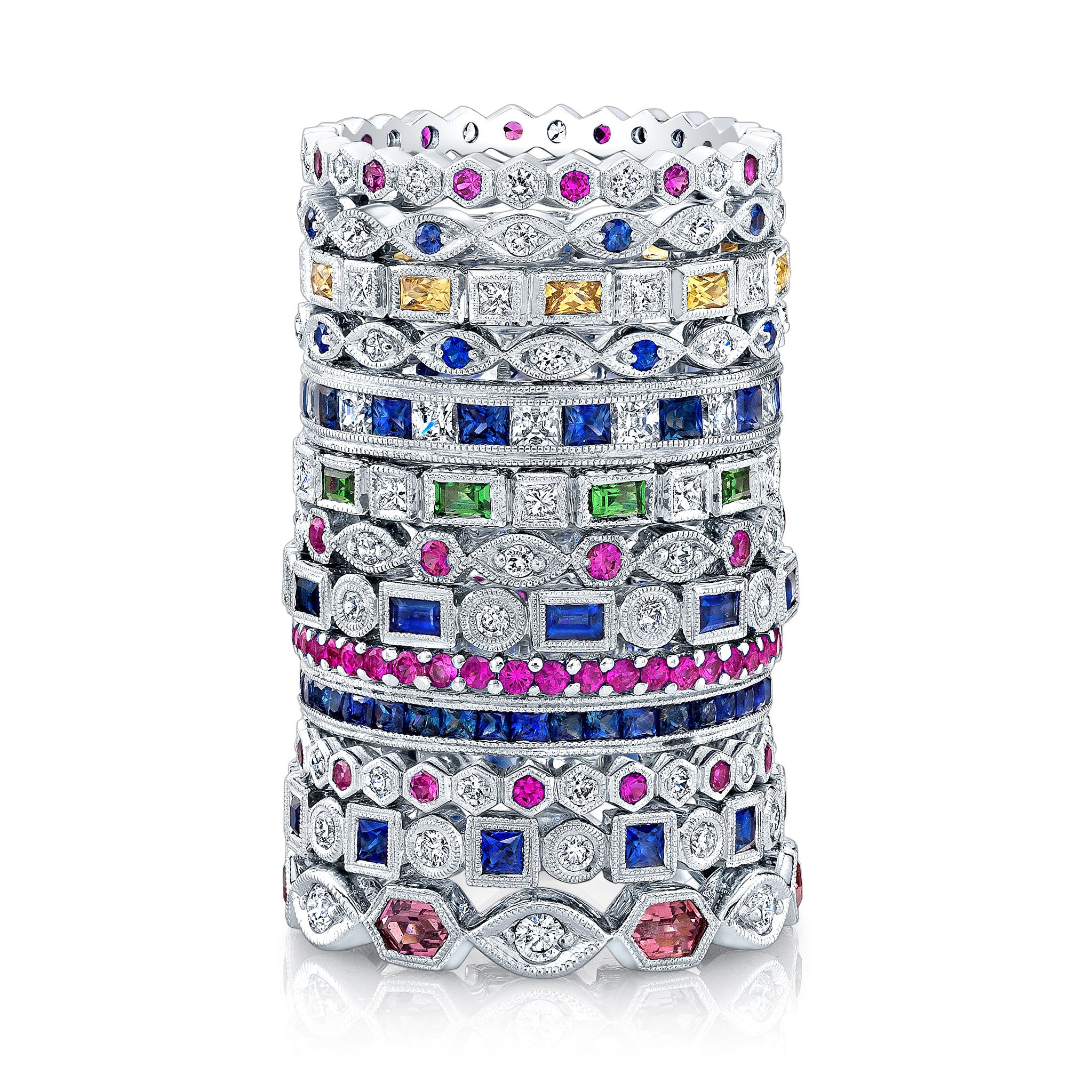 vincents jewelry carelle pink sapphire fine diamond stack hoops