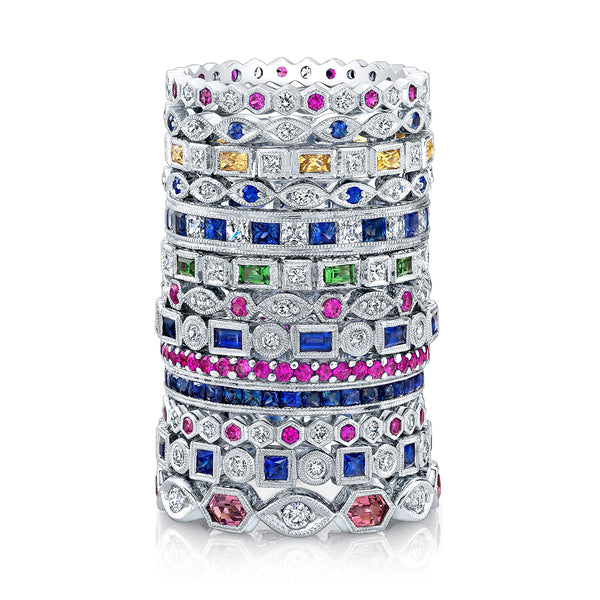 Jolie Designs Stackable Pink Sapphire and Diamond Eternity Ring