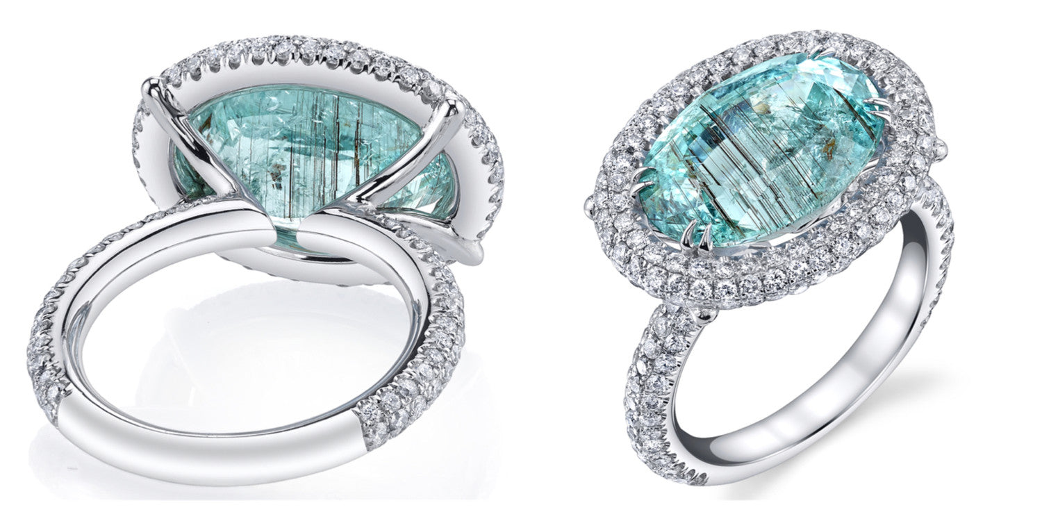 Michael Barin Paraiba Tourmaline and Diamond Ring