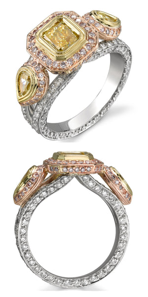 Michael Barin Yellow and Pink Diamond Engagement Ring