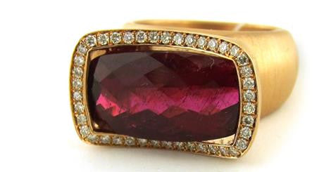 Michael Barin Rose Gold Pink Tourmaline and Diamond RIng