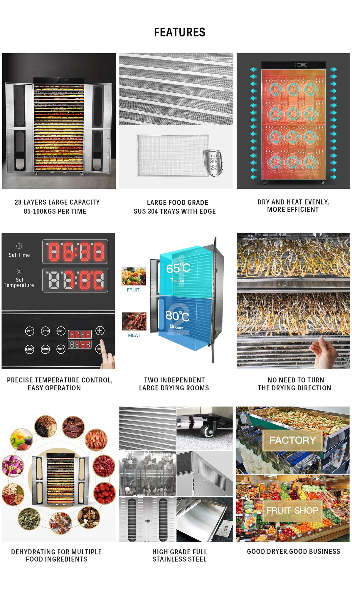 28 Layers Industrial Food Dehydrator -127.97 sq.ft Drying Area | Two Large Independent Drying Rooms | Digital Adjustable Timer | Temperature Control | Dryer for Jerky, Herb, Meat, Beef, Fruit and Vegetables