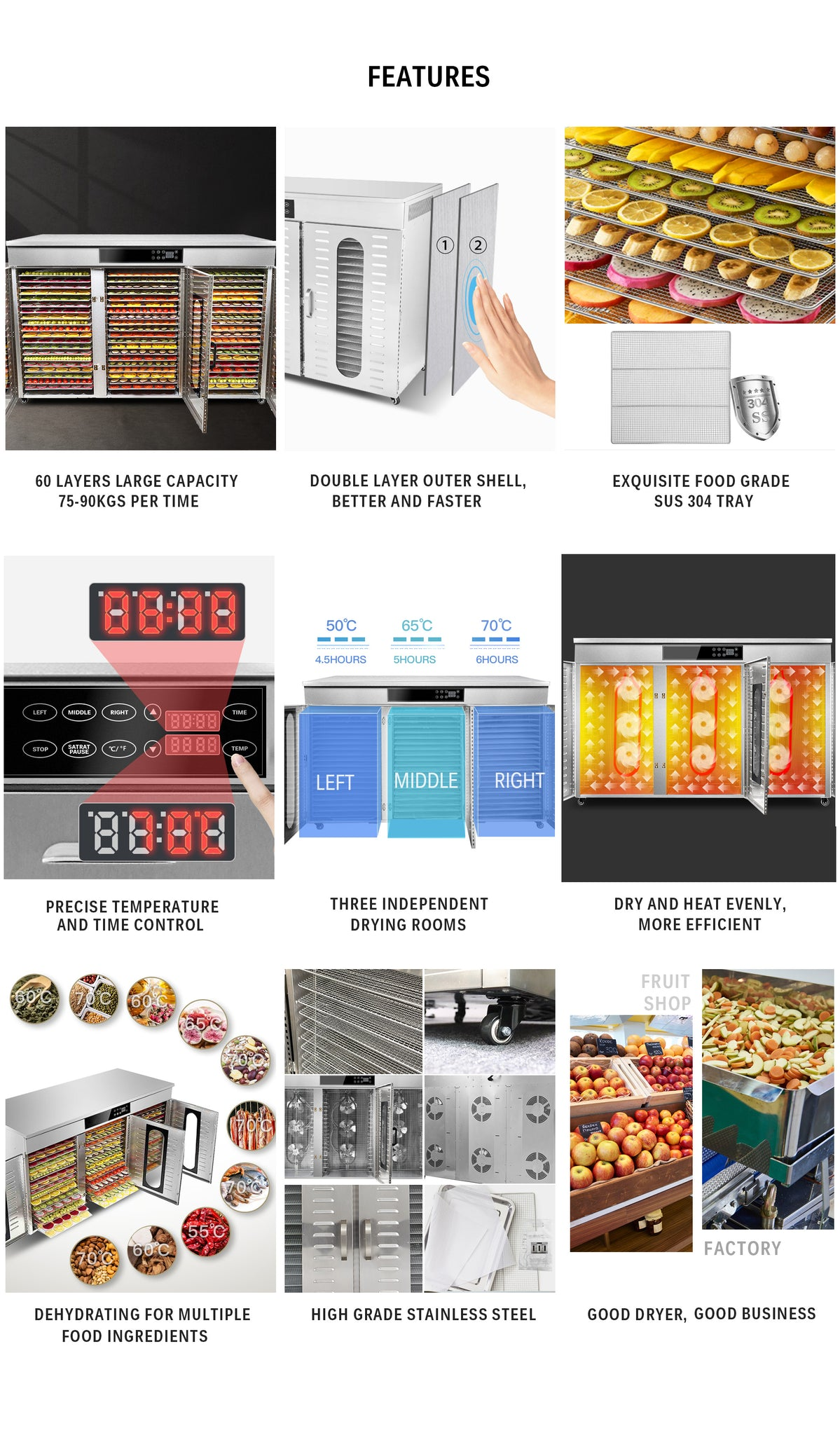 60 Layers Industrial Food Dehydrator -98.06 sq.ft Drying Area | Three Independent Drying Rooms | Digital Adjustable Timer | Temperature Control | Dryer for Jerky, Herb, Meat, Beef, Fruit and Vegetables