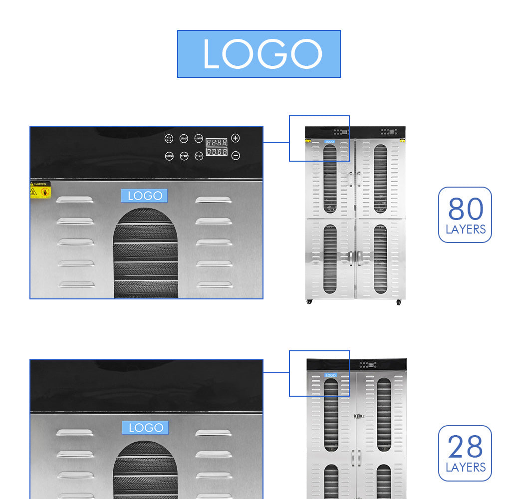 Design the logo independently, in the position below the food dryer panel, please put forward your idea, we will try our best to help you realize