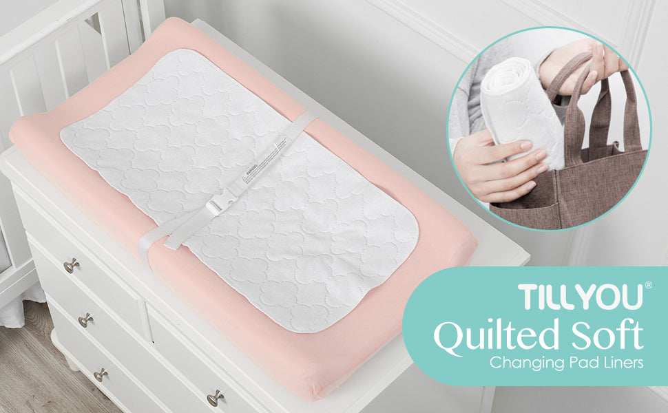 """Tillyou quilted soft changing pad liners, 27"""" x 13"""""""
