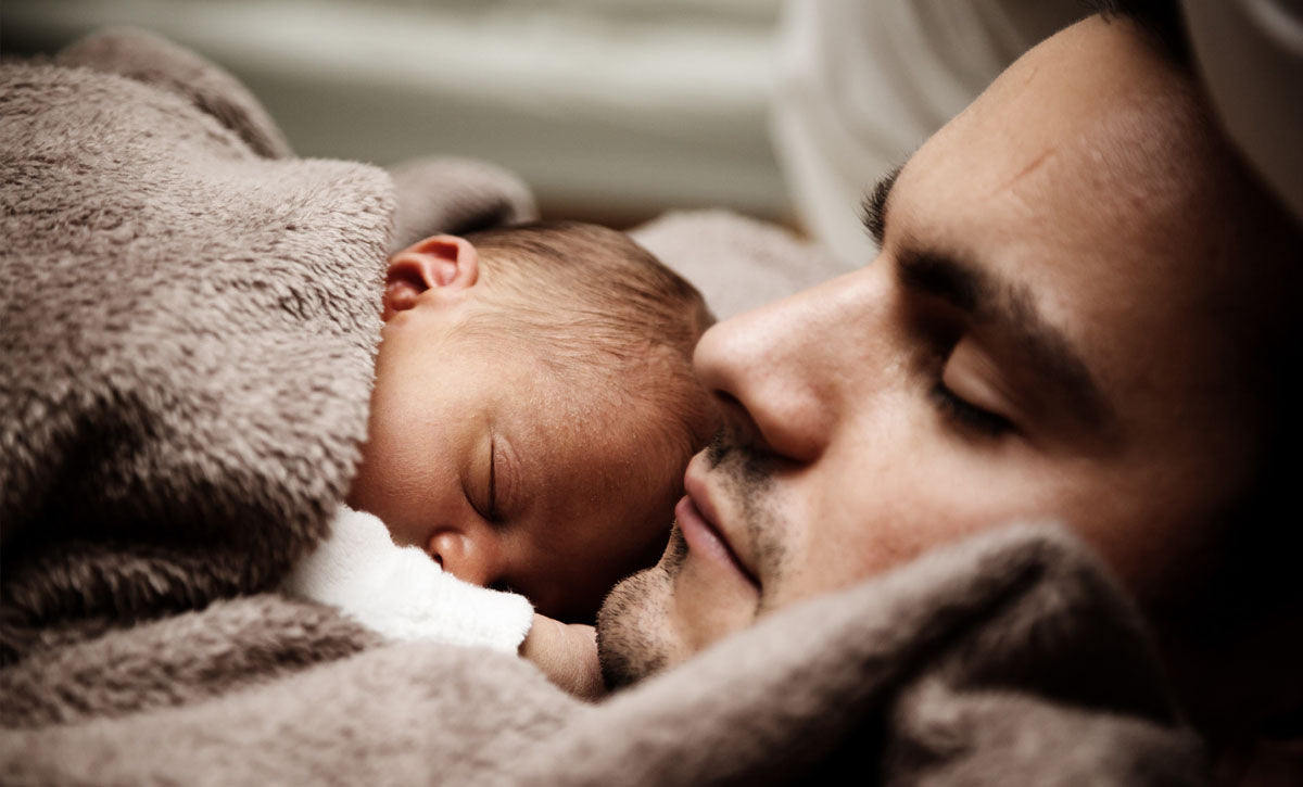 dad sleep with baby -winter