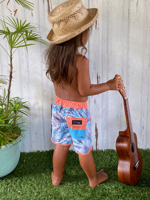 "Boardshort bleu enfant ""Tropical"""