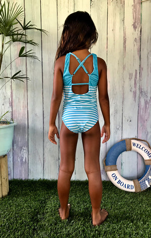 """Polynesian dream"" blue maillot 1 pièce fille"