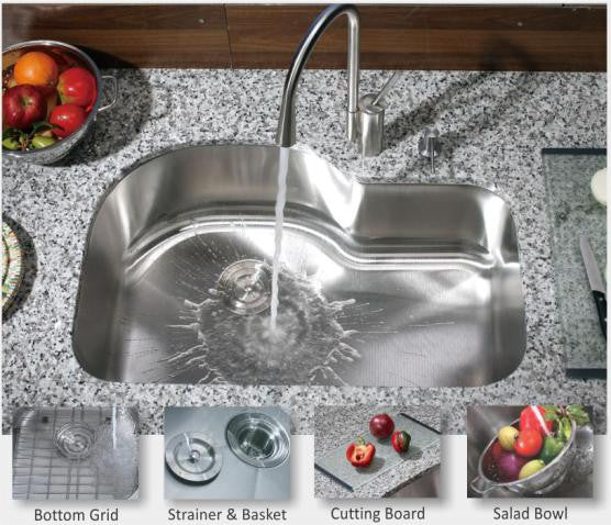 1 3 4 Single Bowl Kitchen Sink 16 Gauge Combo Chef Series Real Rock Company