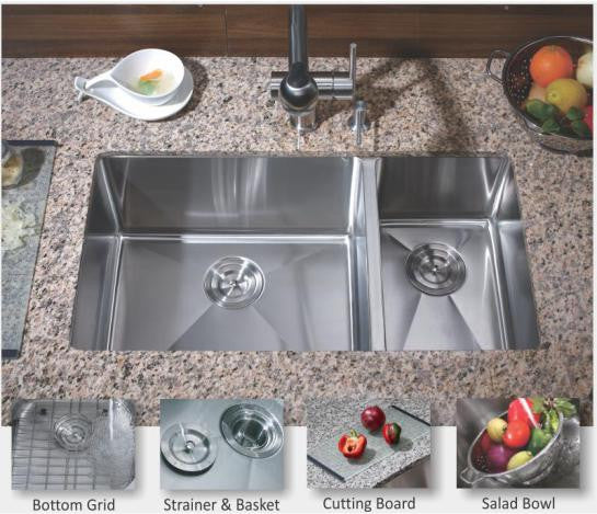 1-1/2 Double bowl kitchen sink 16 gauge COMBO - Chef Series – Real ...