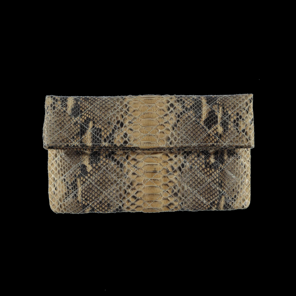 Quilted beige snake skin clutch